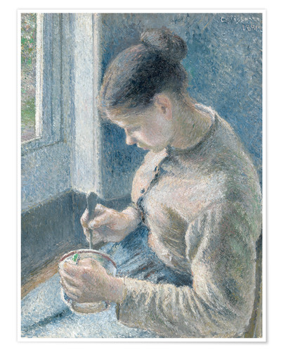 Premium poster Peasant girl drinking her coffee