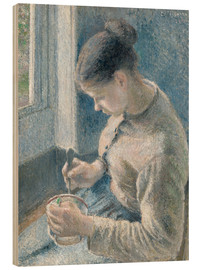 Wood print  Peasant girl drinking her coffee - Camille Pissarro
