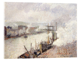 Acrylic print  Steamboats in the Port of Rouen - Camille Pissarro
