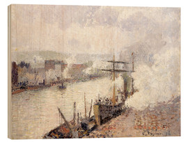 Wood print  Steamboats in the Port of Rouen - Camille Pissarro