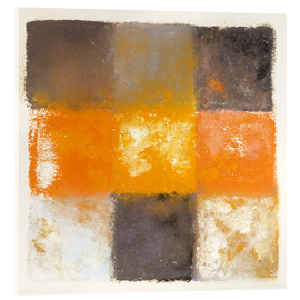 Acrylic print  Abstraction in white, orange and black - Augusto Giacometti