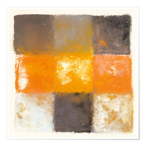 Premium poster Abstraction in white, orange and black