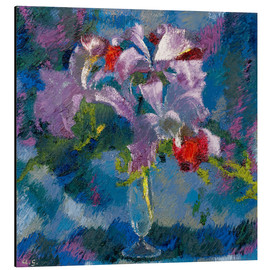 Aluminium print  Orchids on a blue background - Augusto Giacometti