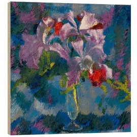 Wood print  Orchids on a blue background - Augusto Giacometti