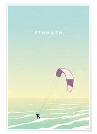 Premium poster Kitesurfer on Fehmarn illustration