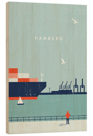Wood print  Hamburg Illustration - Katinka Reinke