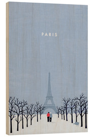 Wood print  Illustration of Paris - Katinka Reinke