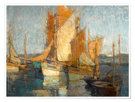 Premium poster  Sailboats in harbor - Edgar Alwin Payne