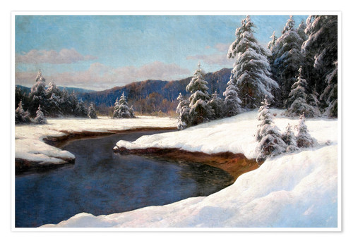 Premium poster Winter landscape at the lake