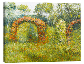Canvas  The rose garden in Giverny - Blanche Hoschede-Monet