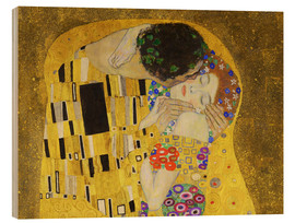 Wood print  The kiss (detail) - Gustav Klimt