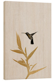 Wood  Hummingbird & flower II - Orara Studio