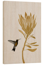 Wood print  Hummingbird & flower I - Orara Studio