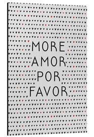 Aluminium print  More Amor Por Favor Black Red - Orara Studio
