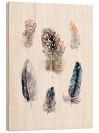 Wood print  Feathers collection - Verbrugge Watercolor
