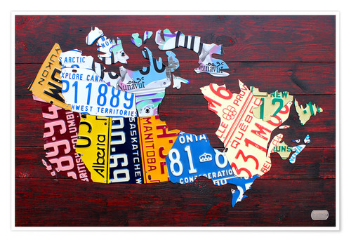 Premium poster License Plate Map of Canada