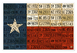 Premium poster Flag of Texas License Plate Art