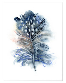 Poster  Feather blue - Verbrugge Watercolor