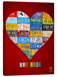 Canvas print  USA Love License Plate Heart Art - Design Turnpike