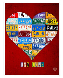 Premium poster USA Love License Plate Heart Art