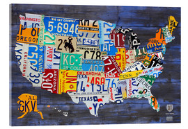 Acrylic glass  License plate map of the USA - Design Turnpike