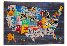 Wood  License plate map of the USA - Design Turnpike