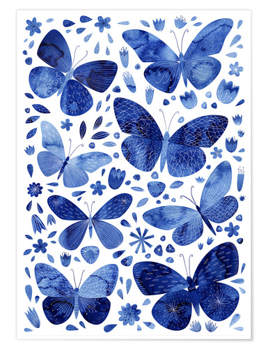 Premium poster Butterflies China blue