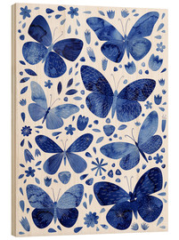 Wood print  Butterflies China blue - Nic Squirrell