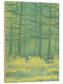 Wood print  Glade with deer - Nic Squirrell