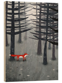 Wood print  The fox and the forest - Nic Squirrell