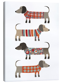 Canvas  Sausage Dogs in Sweaters - Nic Squirrell