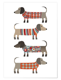 Poster  Sausage Dogs in Sweaters - Nic Squirrell