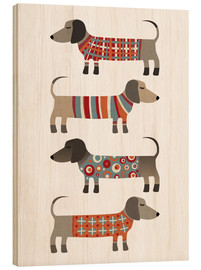 Wood print  Sausage Dogs in Sweaters - Nic Squirrell