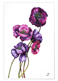 Poster  Purple Poppies - Zaira Dzhaubaeva