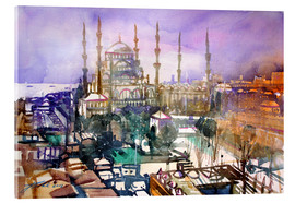 Acrylic glass  Istanbul, view to the blue mosque - Johann Pickl