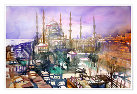 Premium poster Istanbul, view to the blue mosque