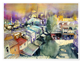 Premium poster Istanbul, view from Valide Han to Nuruosmaiye Mosque