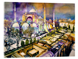 Acrylic glass  Istanbul, view to the Hagia Sophia mosque - Johann Pickl