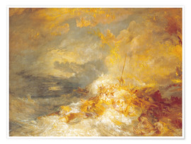 Premium poster  Fire at sea - Joseph Mallord William Turner