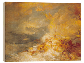 Wood print  Fire at sea - Joseph Mallord William Turner
