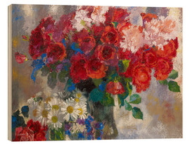 Wood print  red roses - Augusto Giacometti
