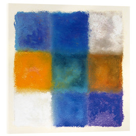 Acrylic print  Abstraction in white, orange and blue - Augusto Giacometti