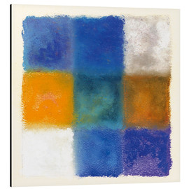 Aluminium print  Abstraction in white, orange and blue - Augusto Giacometti