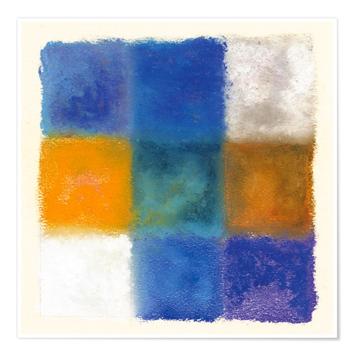 Premium poster Abstraction in white, orange and blue
