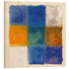 Wood print  Abstraction in white, orange and blue - Augusto Giacometti