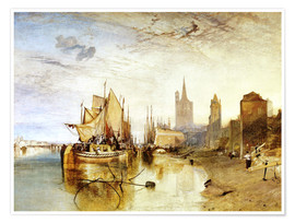 Premium poster  Cologne, the arrival of a post boat - Joseph Mallord William Turner