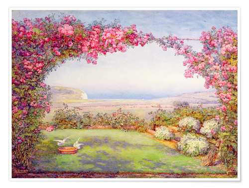 Poster A garden with a rose arch