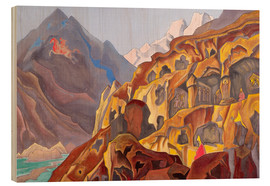 Wood print  The sacred caves - Nicholas Roerich