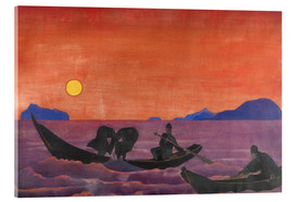 Acrylic glass  And we continue to fish - Nicholas Roerich