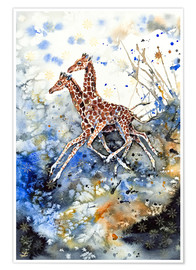 Premium poster Golden childhood. Giraffe babies play